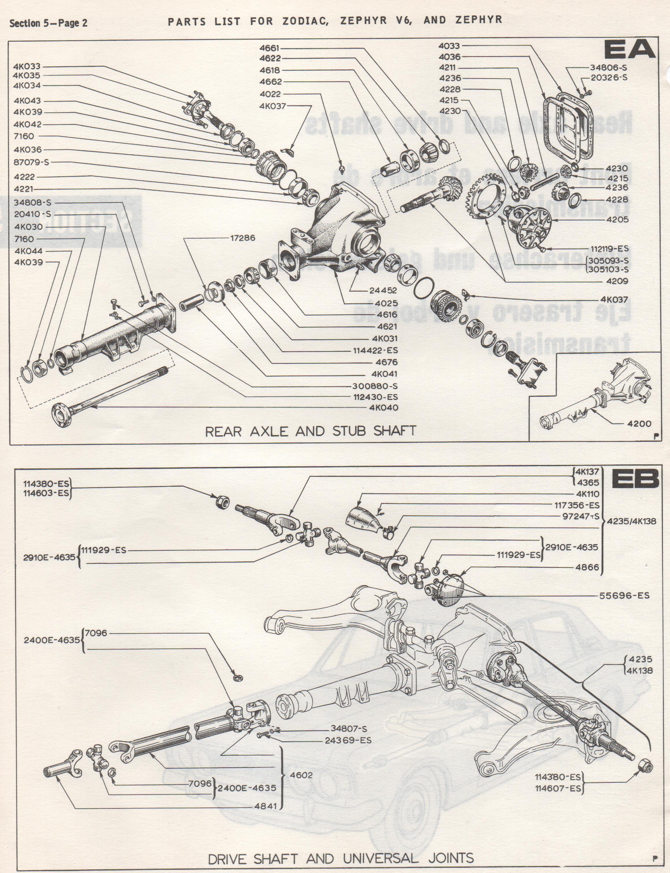 595: REAR AXLE ZEPHYR ZODIAC MK4 | Small Ford Spares