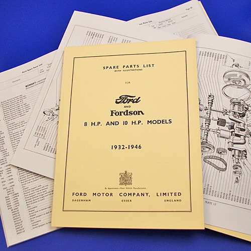 Ford spare parts list 8hp and 10hp, 1932-1948